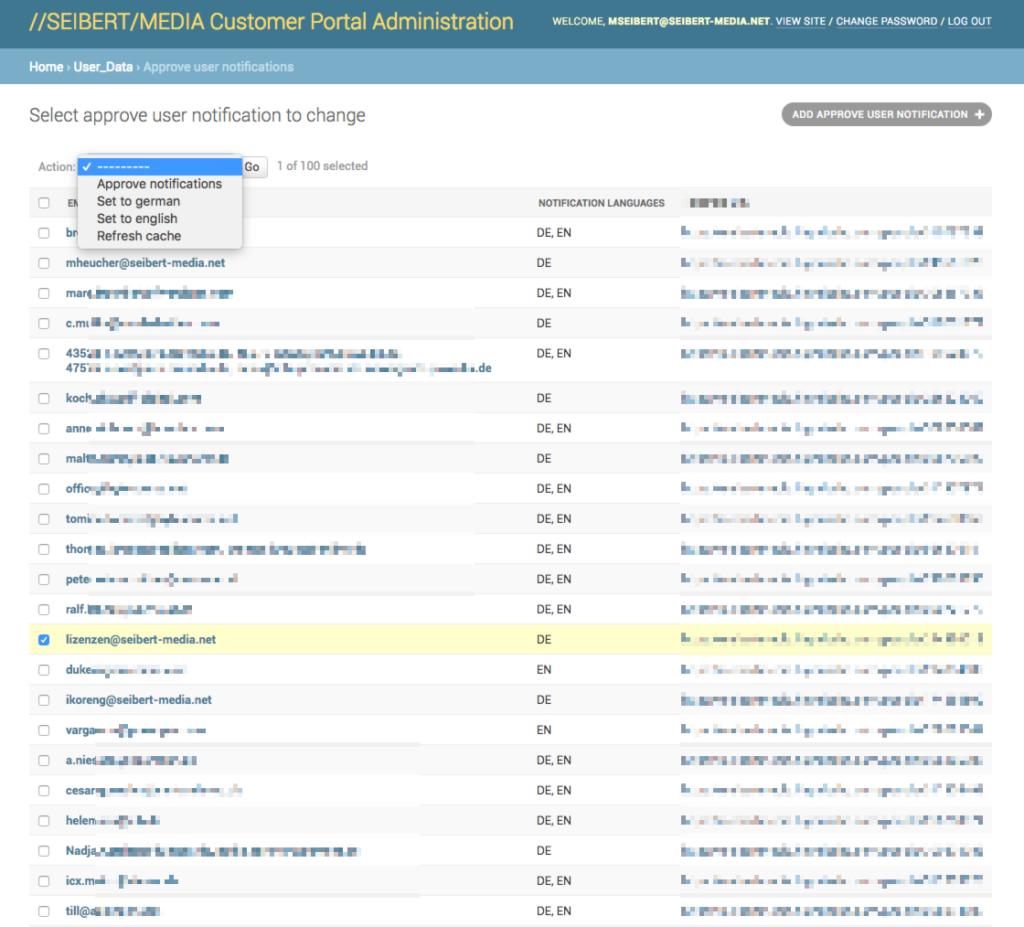 Sprache fürs GDPR-Portal wählen