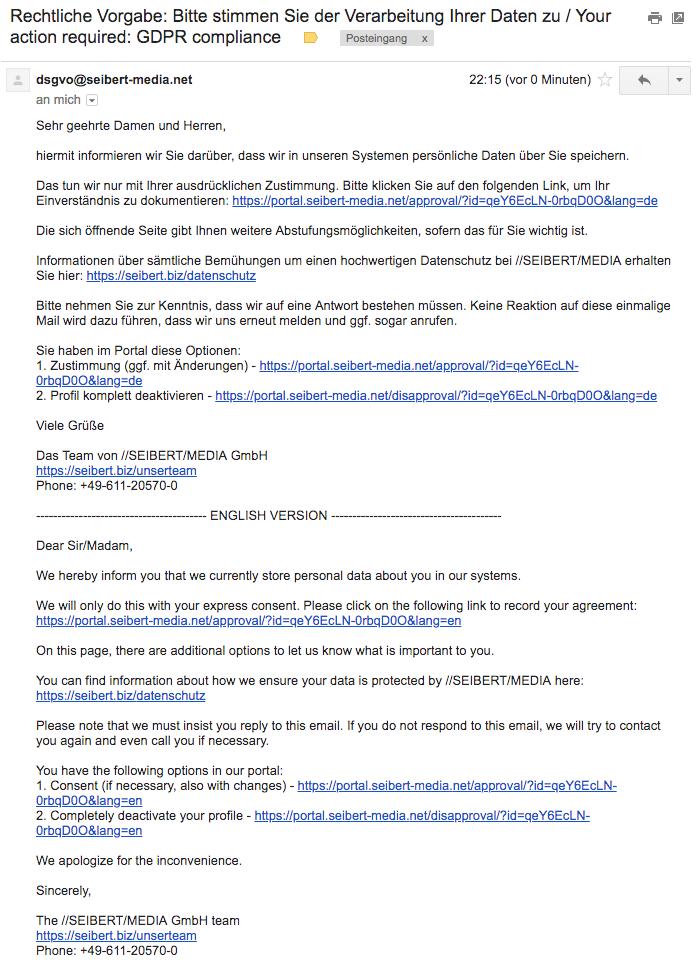 Vorschau der E-Mail an Kunden aus unserem DSGVO-Portal