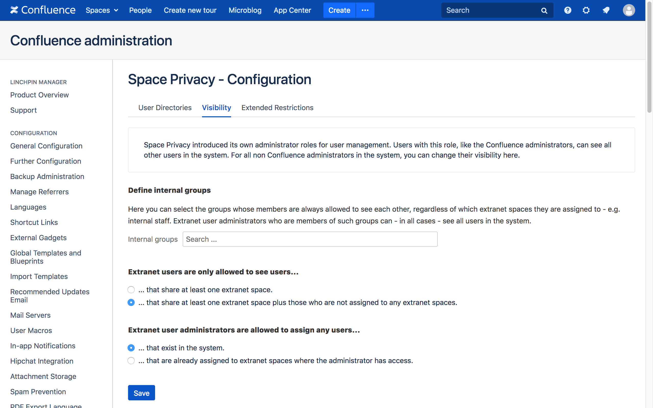 The new Space Privacy admin space.