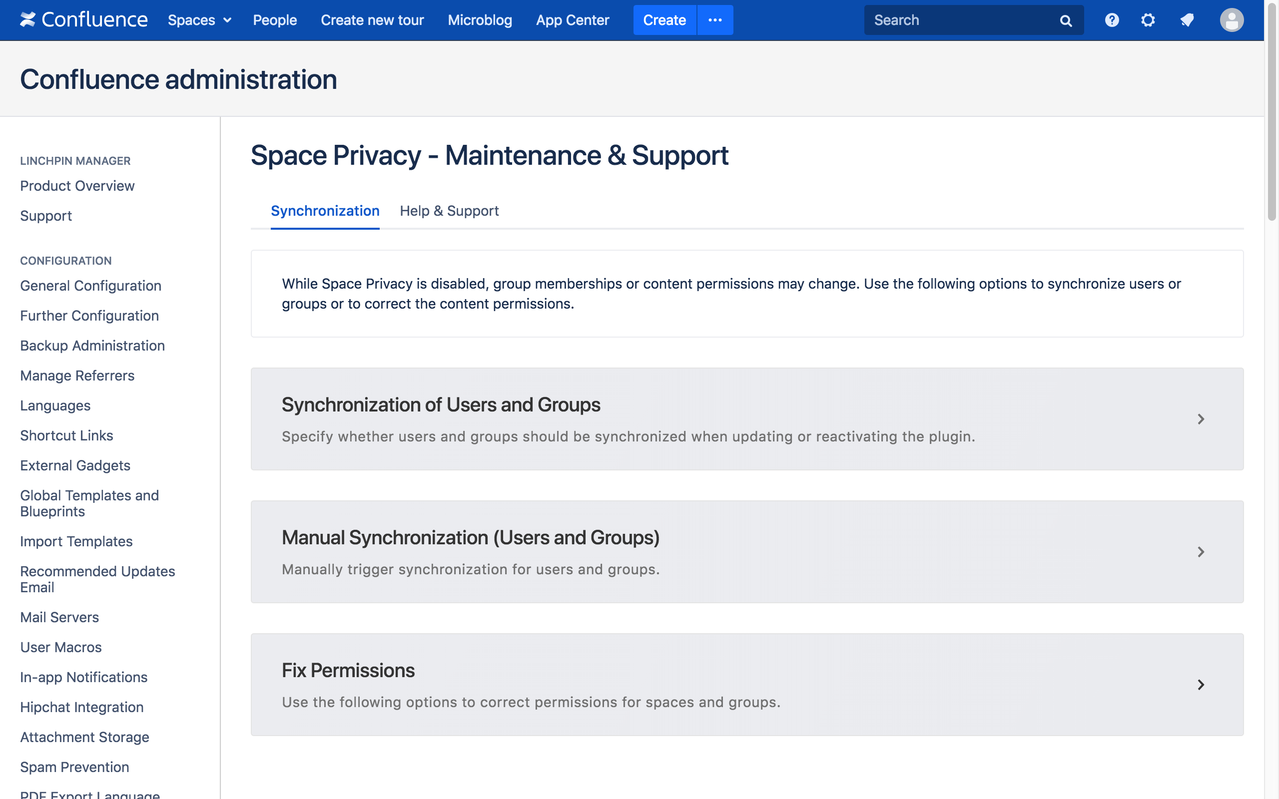 The new Space Privacy admin space (cont).