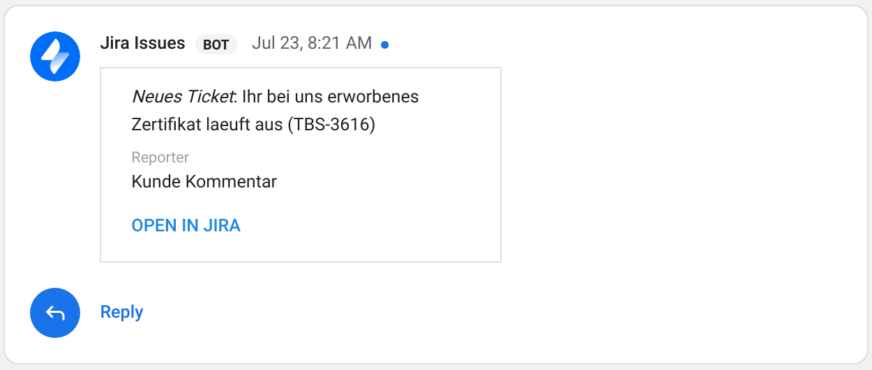 Hangouts Chat Jira-Integration