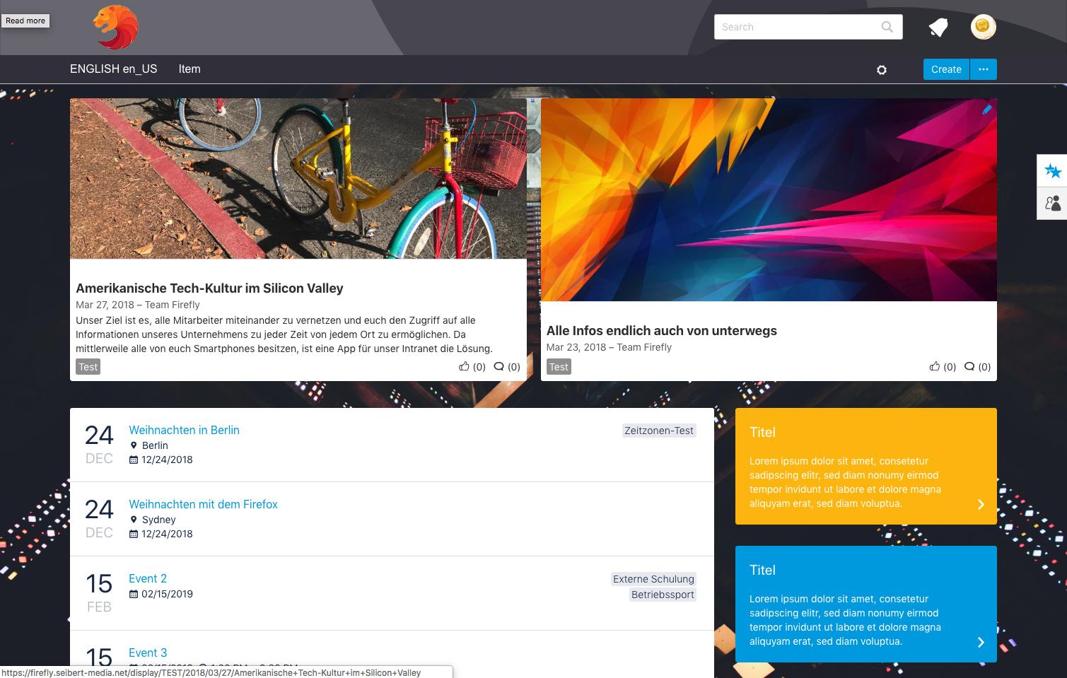 Das globale Dashboard mit individuellem Hintergrund