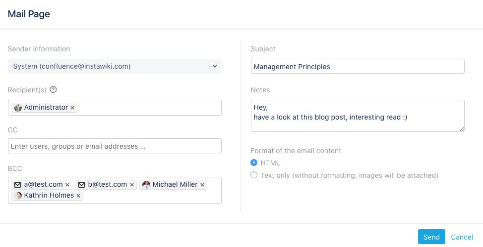 Konfigurationsmenü der Confluence-Erweiterung Mail Page