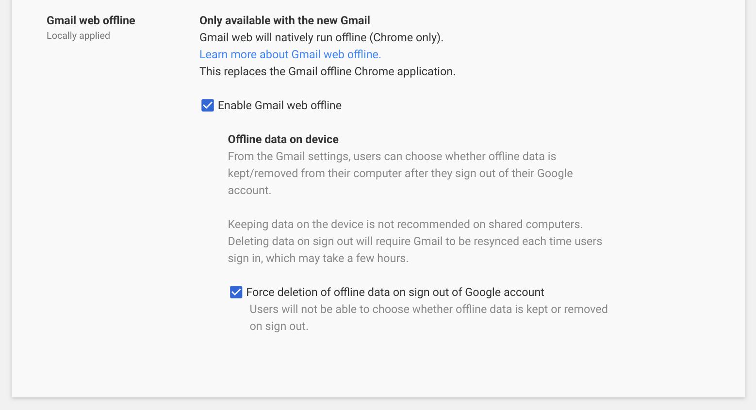 Gmail - Offline Sync Admin Settings