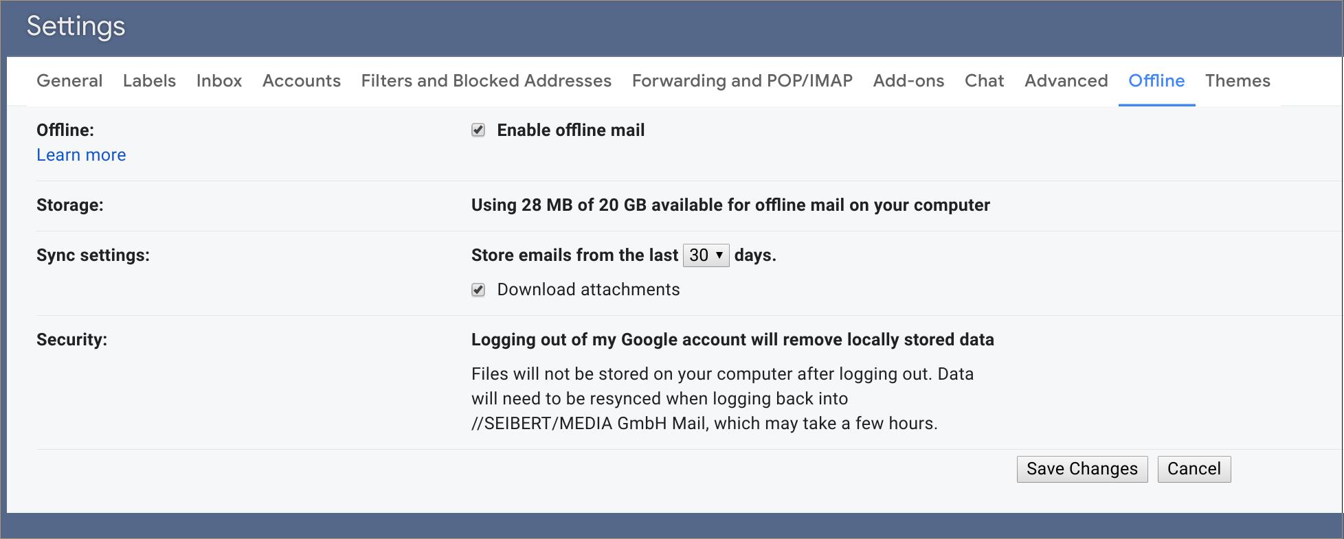Gmail - Offline Sync Settings