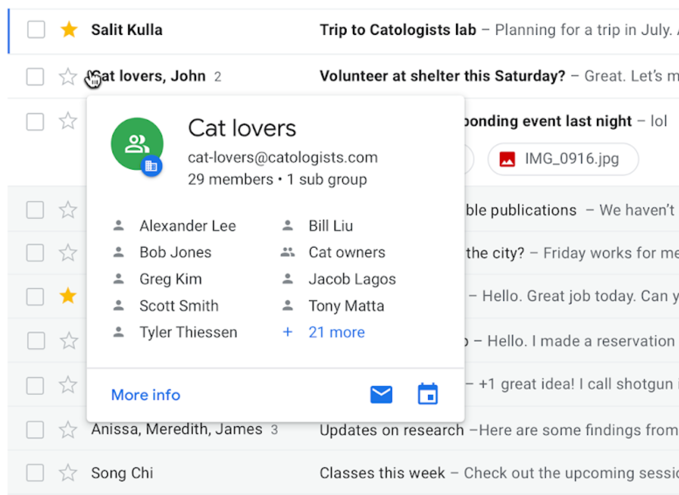 G Suite Hovercards