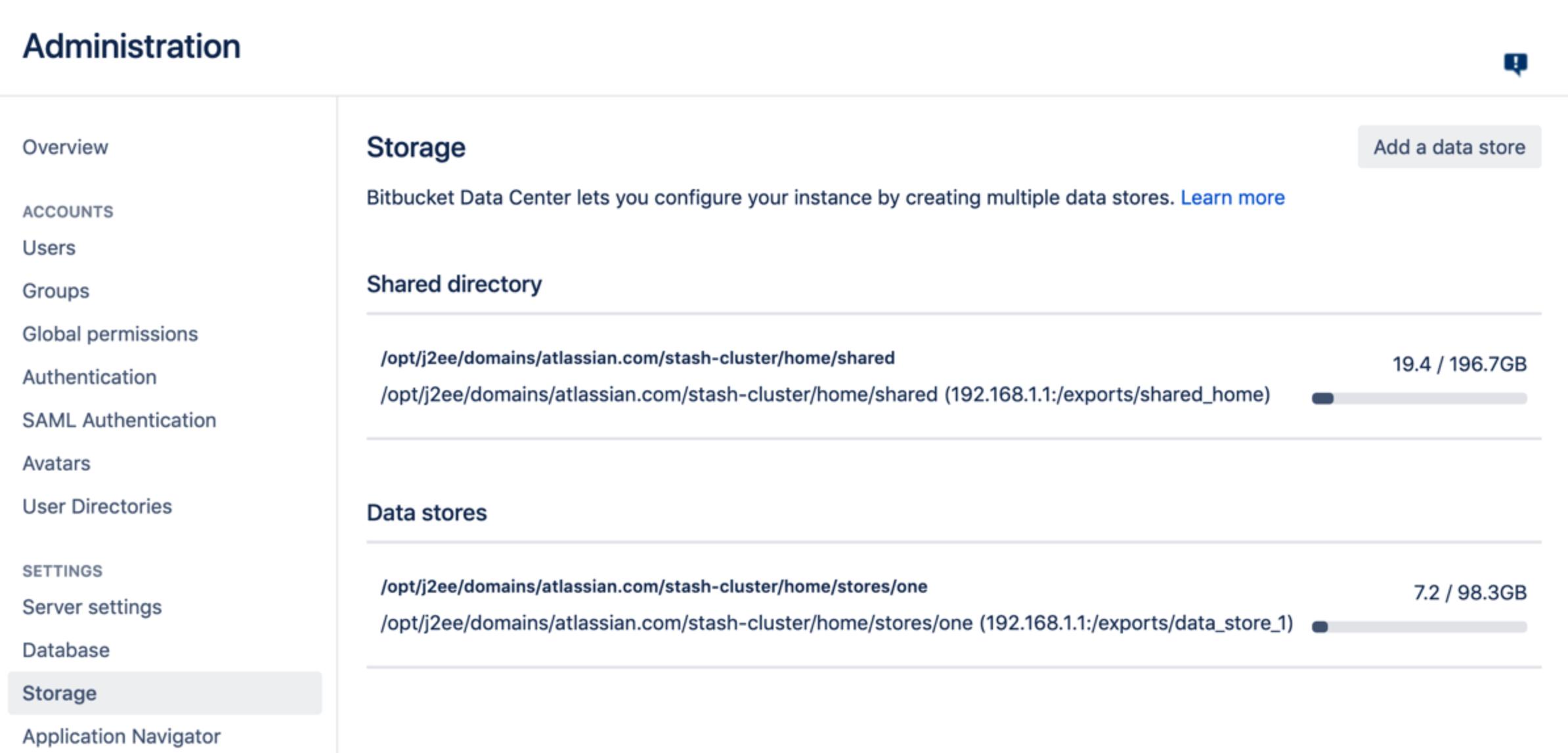 Bitbucket Server und Data Center: zusätzliche Speicherorte