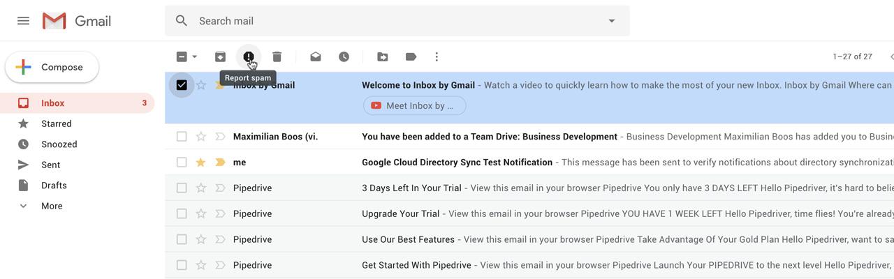 Gmail E-Mails als Spam markieren