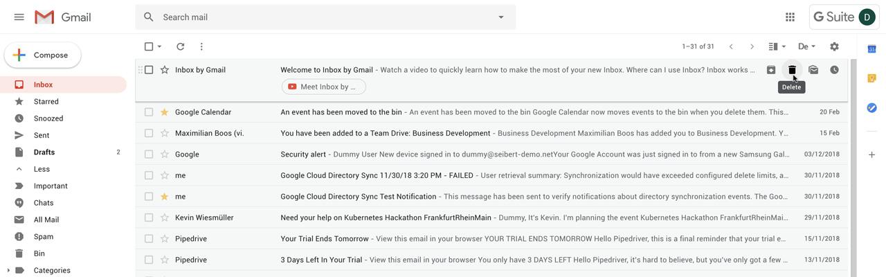 Gmail: E-Mails löschen