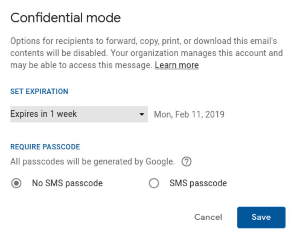 G Suite Gmail vertraulicher Modus