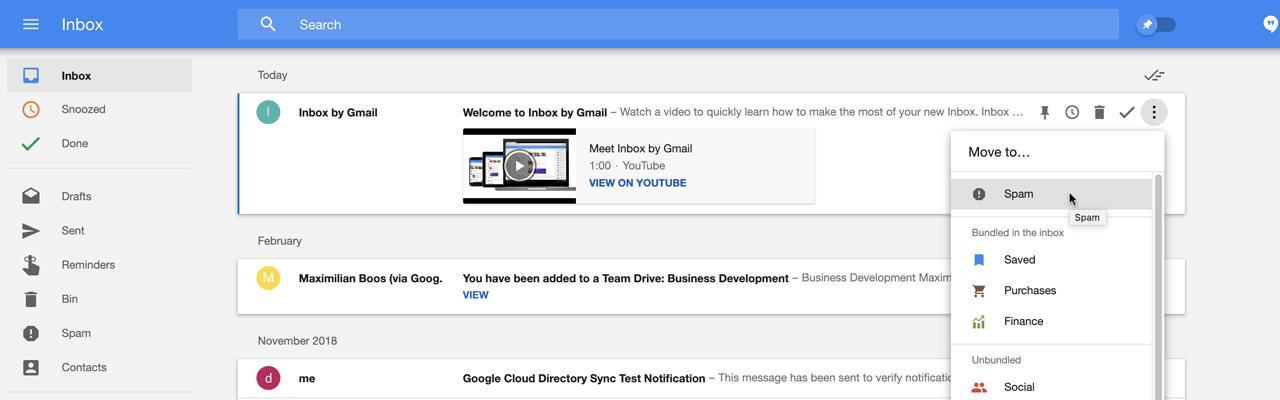Inbox E-Mails als Spam markieren