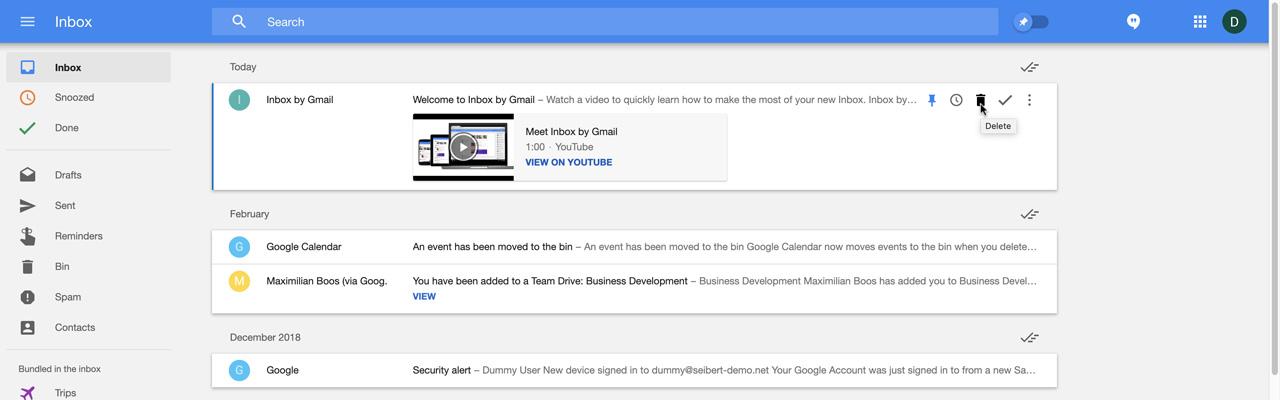 Inbox E-Mails löschen