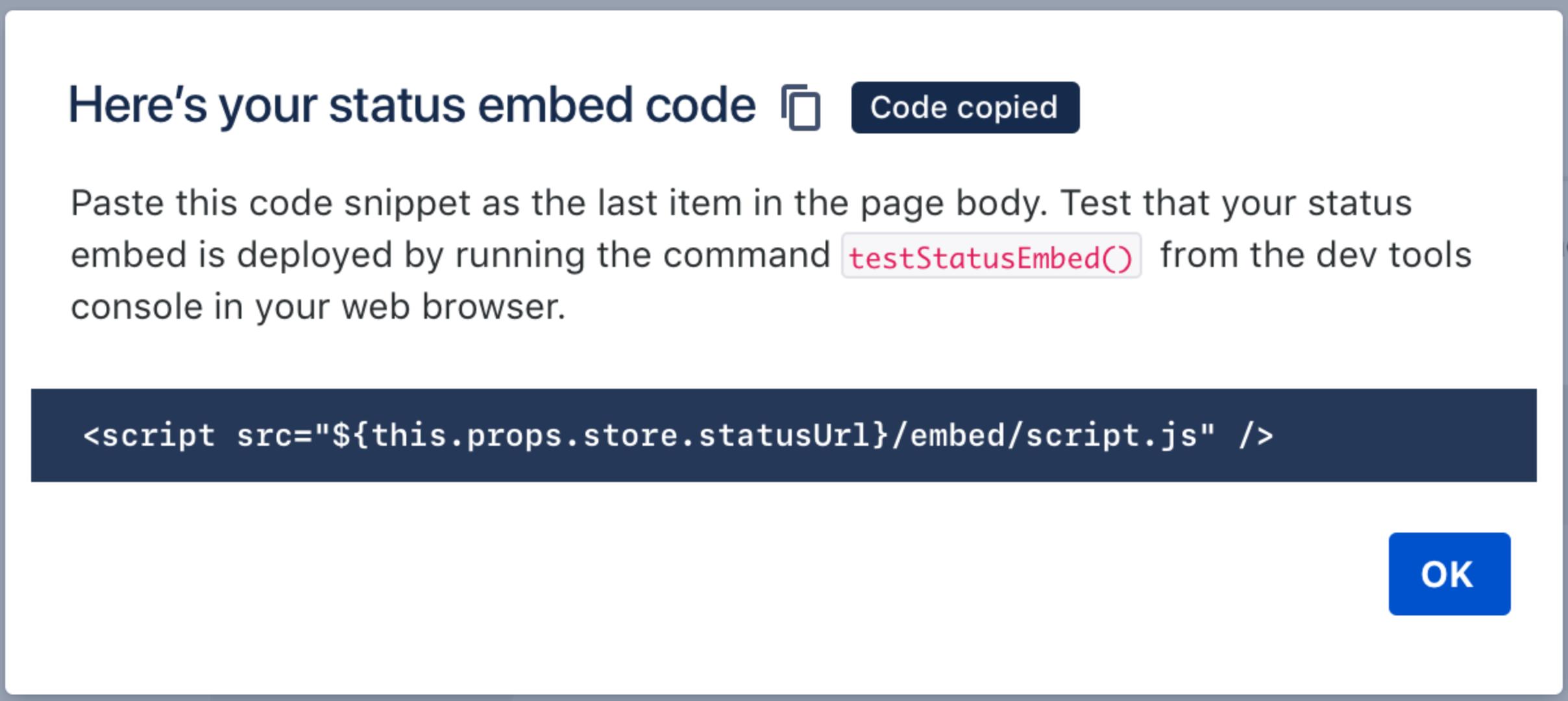 Atlassian Statuspage - embedded Status - Code