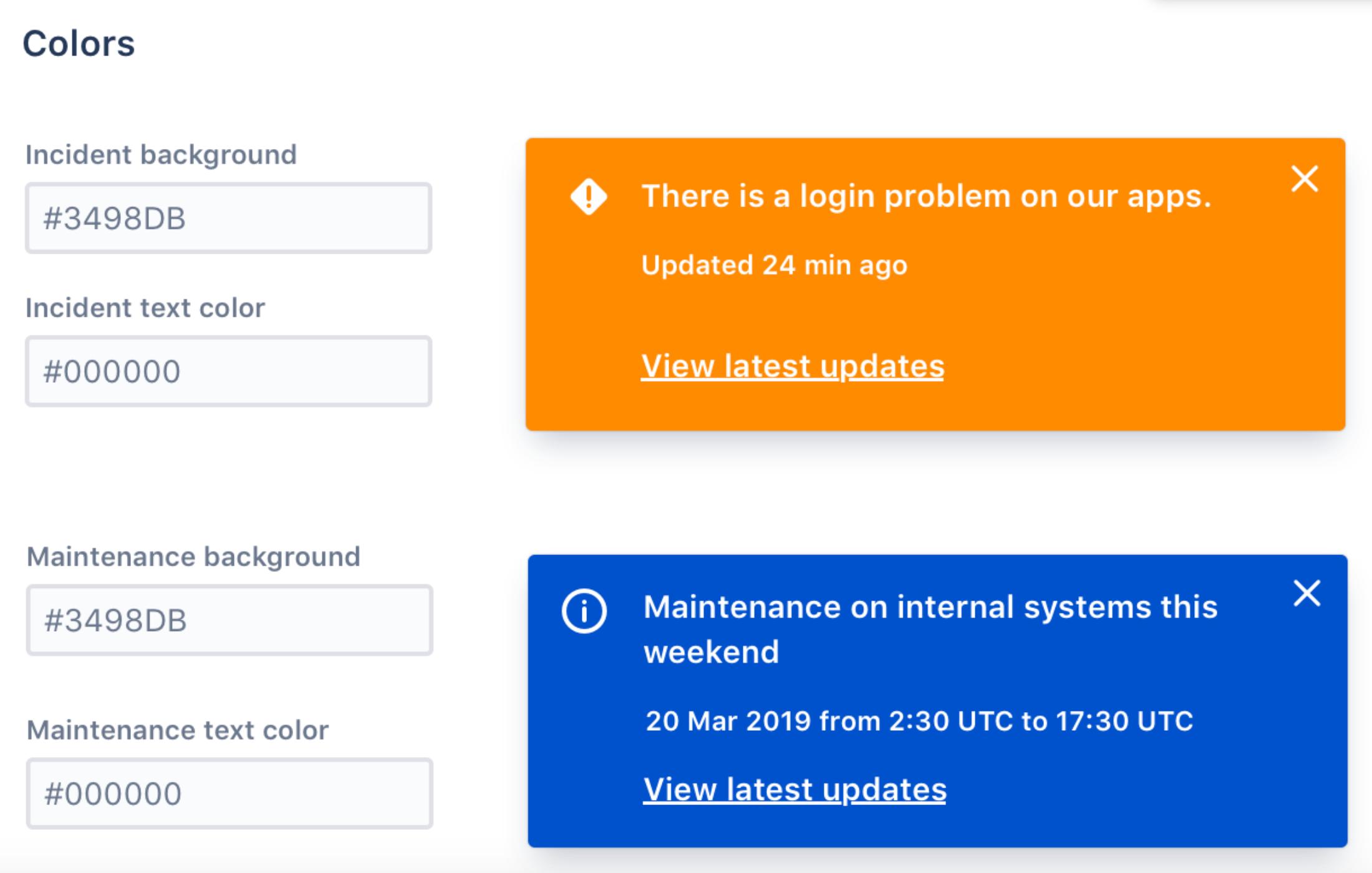 Atlassian Statuspage - embedded Status - Farben