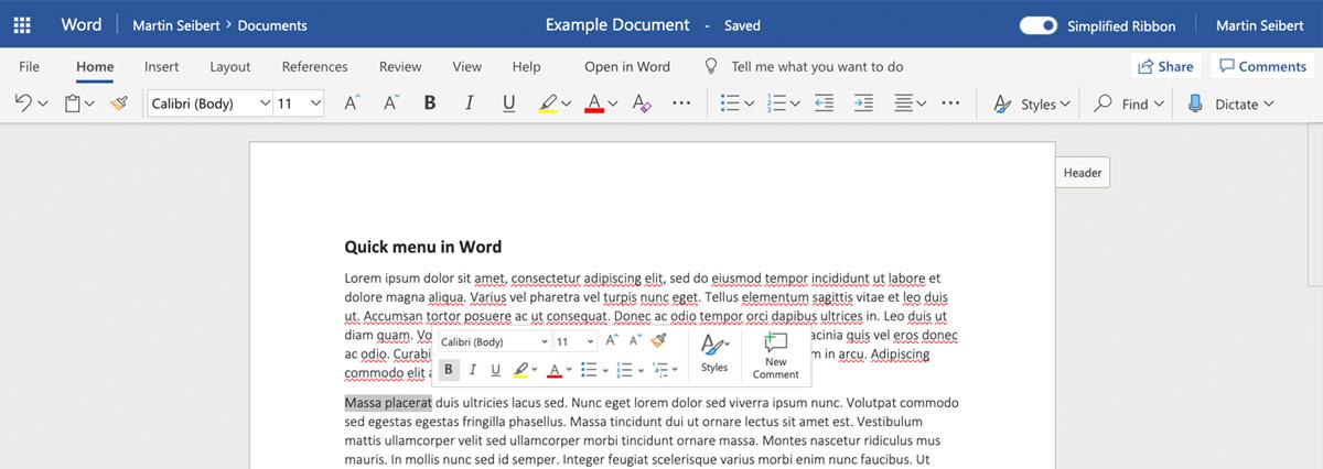 Schnellbearbeitungsleiste in Word Online