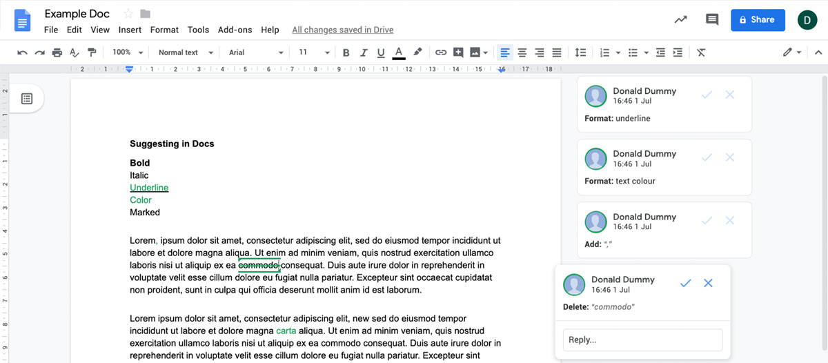 Korrekturmodus in Google Docs