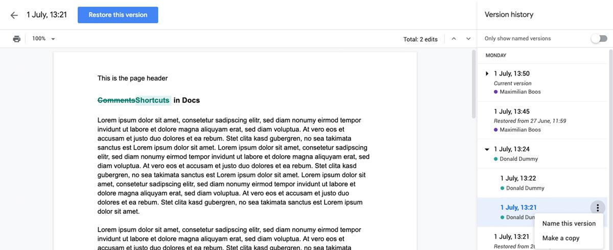 Änderungshistorie in Google Docs