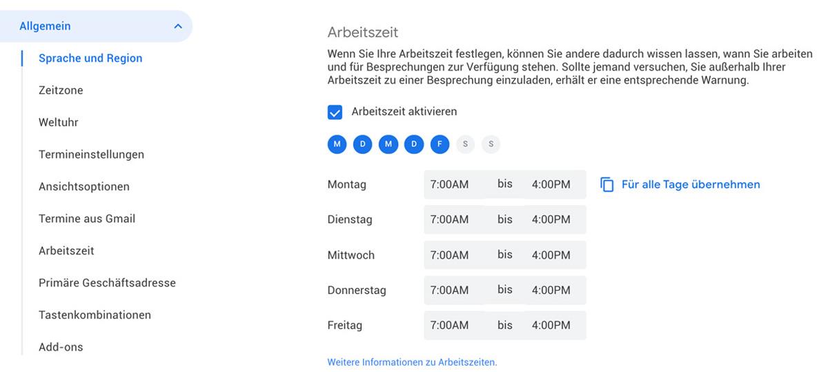 Arbeitszeiten in Google Kalender hinterlegen
