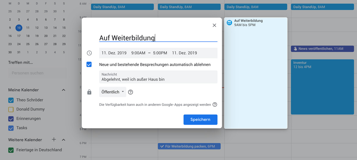 Außer-Haus-Kennzeichnung im Google Kalender