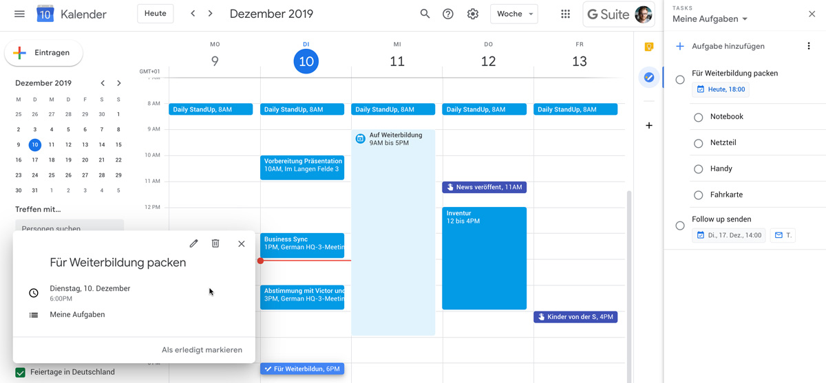 Erinnerungen und Aufgaben in Google Kalender