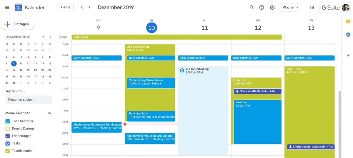 Teamkalender in Google Docs