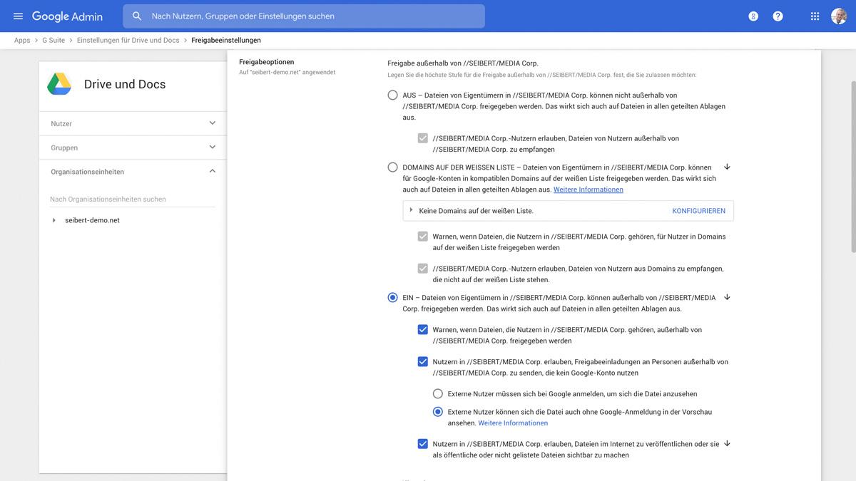 Freigabeeinstellungen in der G Suite für ein sicheres Dokumentenmanagement für Agenturen