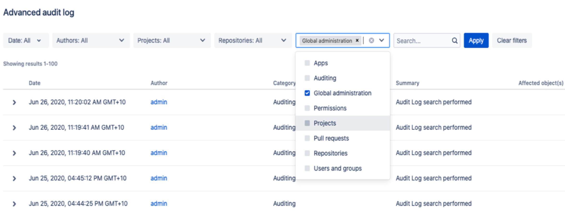 Bitbucket Audit-Log