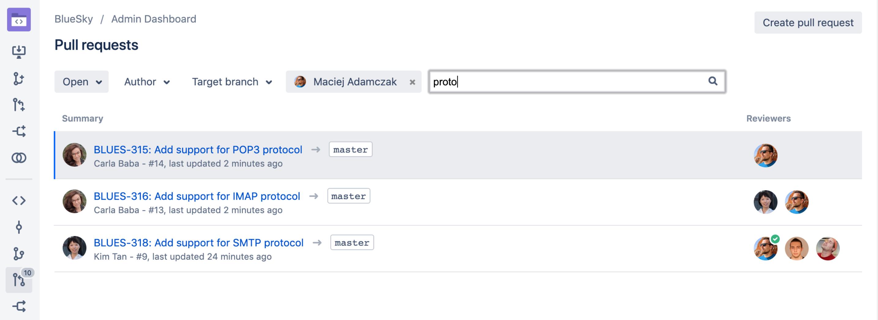 Bitbucket Pull-Requests filtern