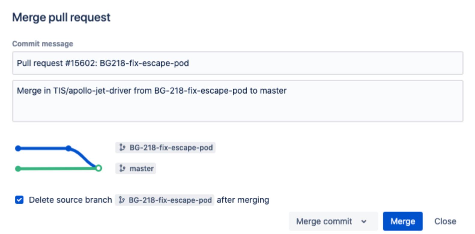 Bitbucket Delete after Merging