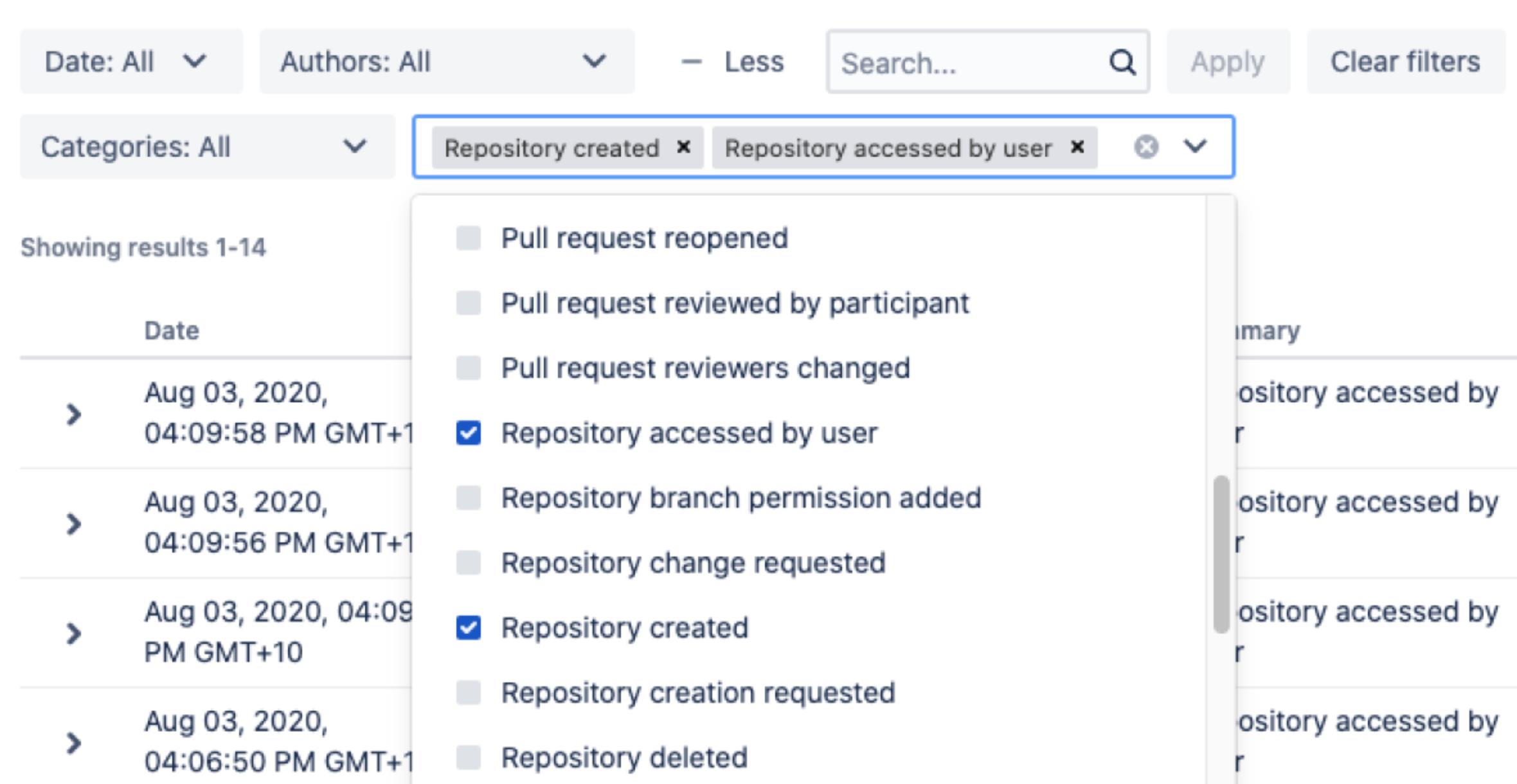 Bitbucket Data Center - Audit-Log-Filter