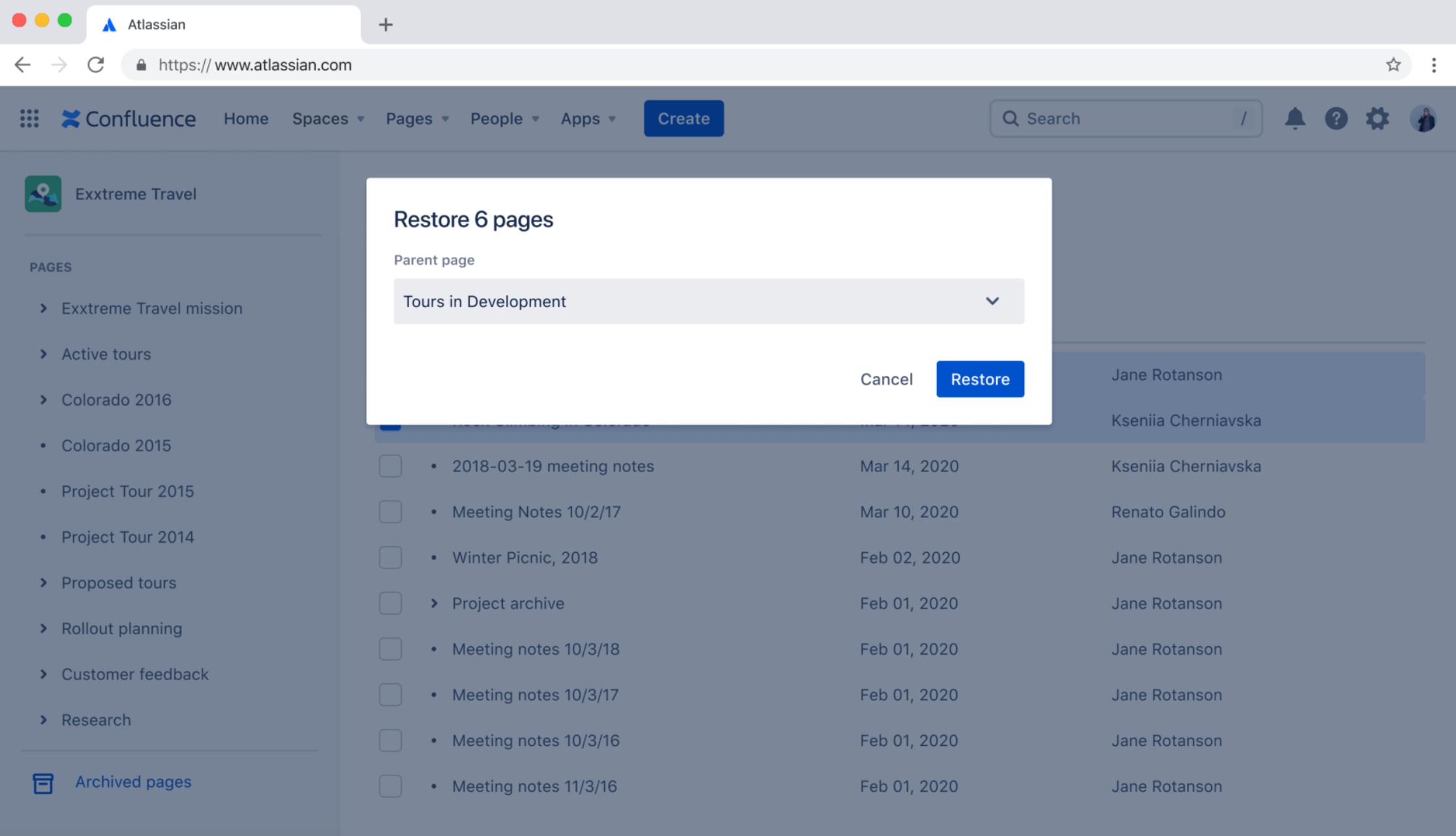 Confluence Cloud - Wiederherstellung archivierter Seiten