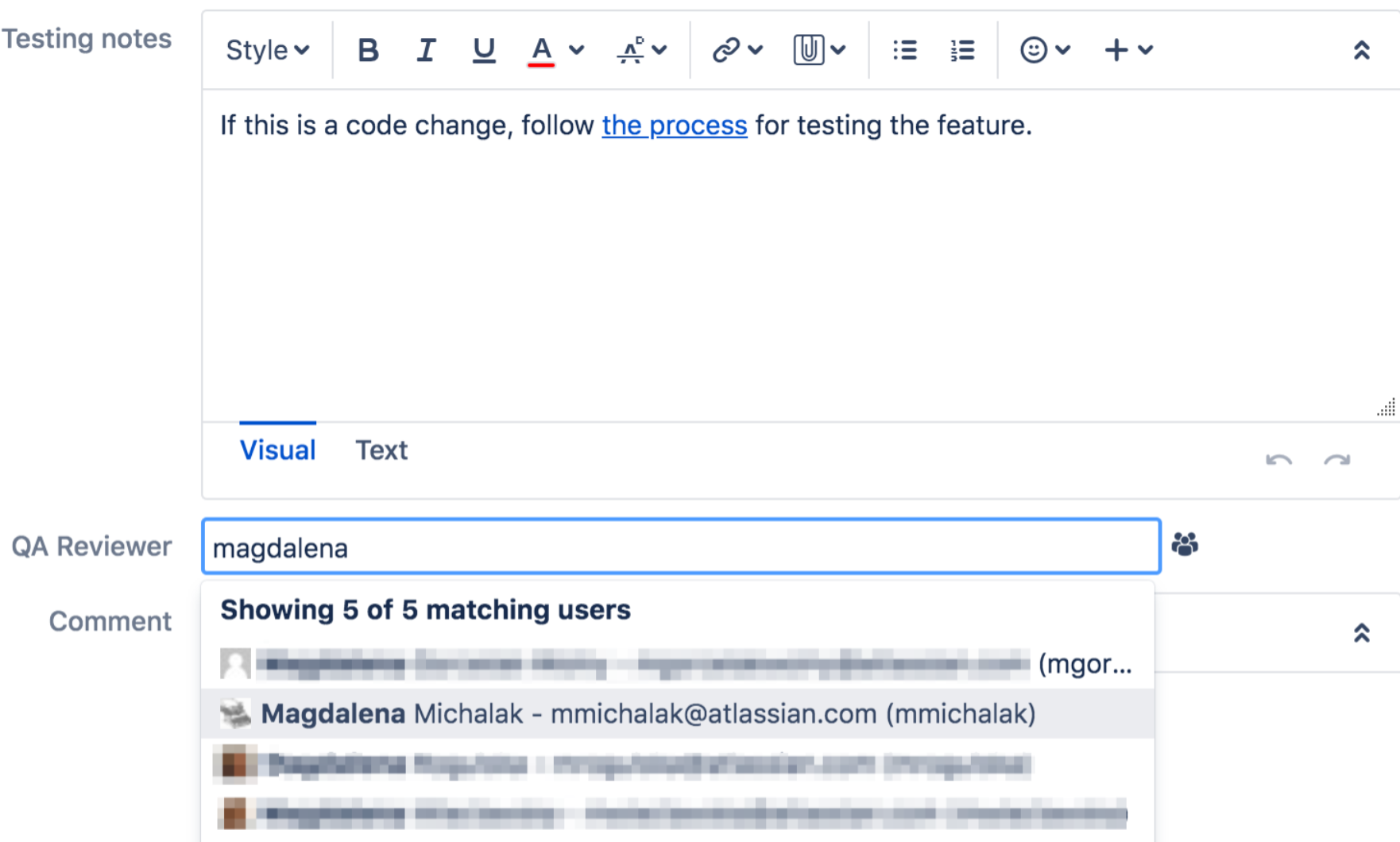 Atlassian Jira User Picker