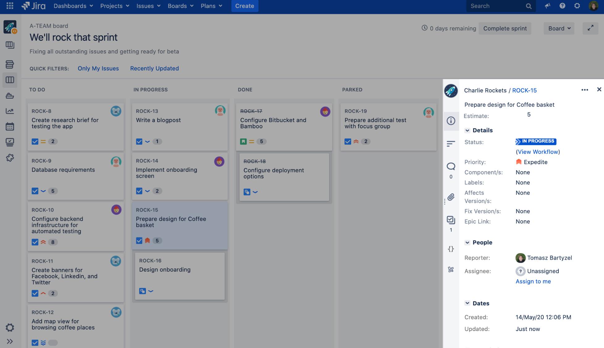 Atlassian Jira Vorgangsdetails
