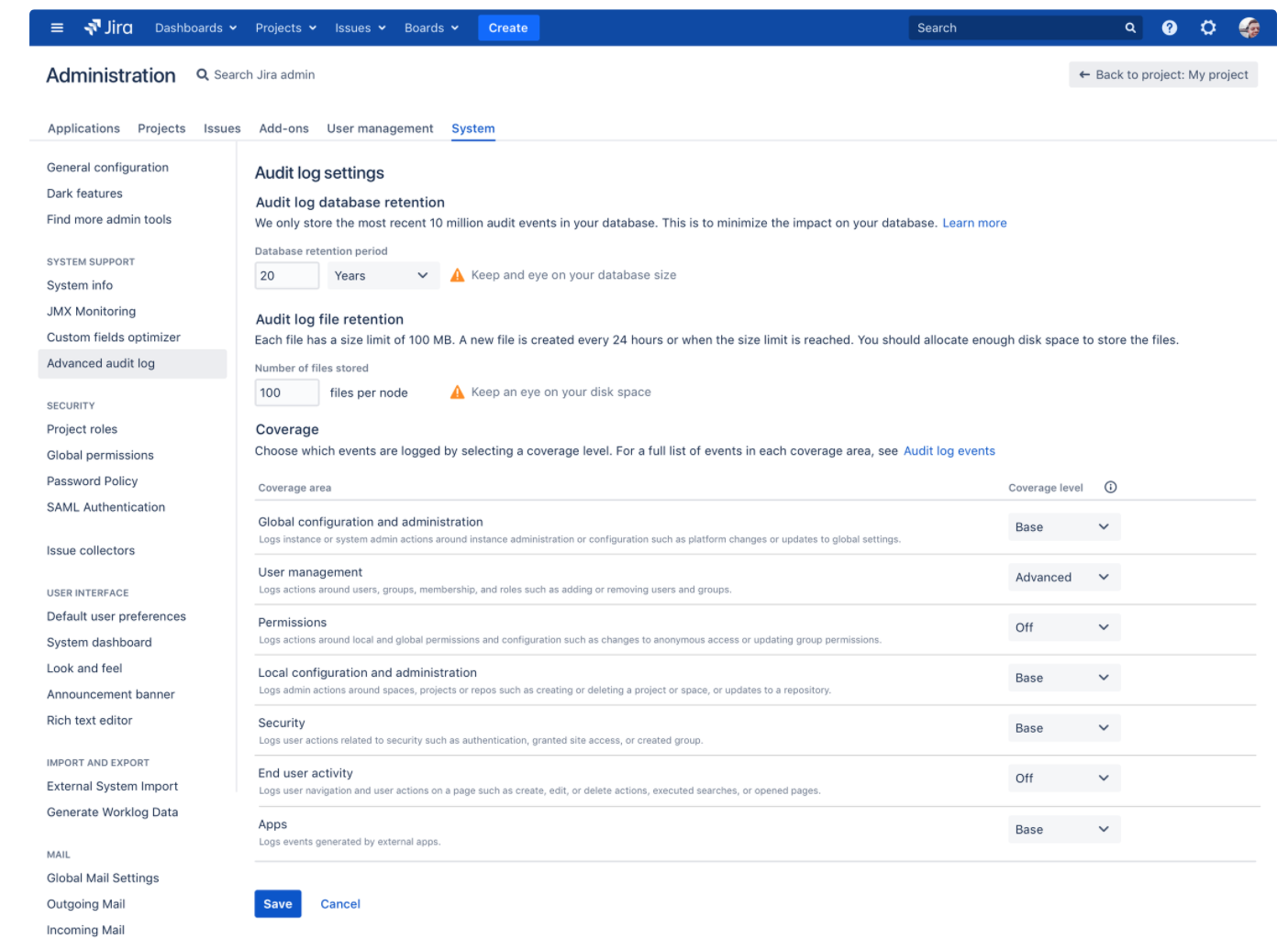 Atlassian Jira Audit Log