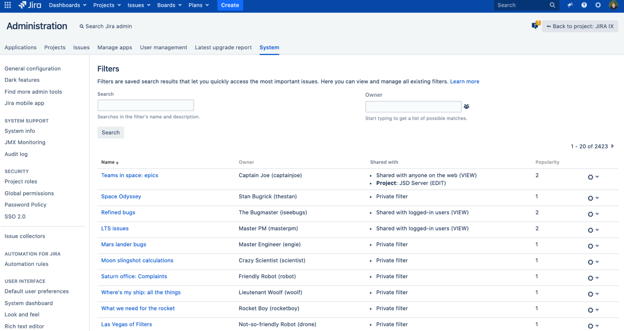 Atlassian Jira private Filter