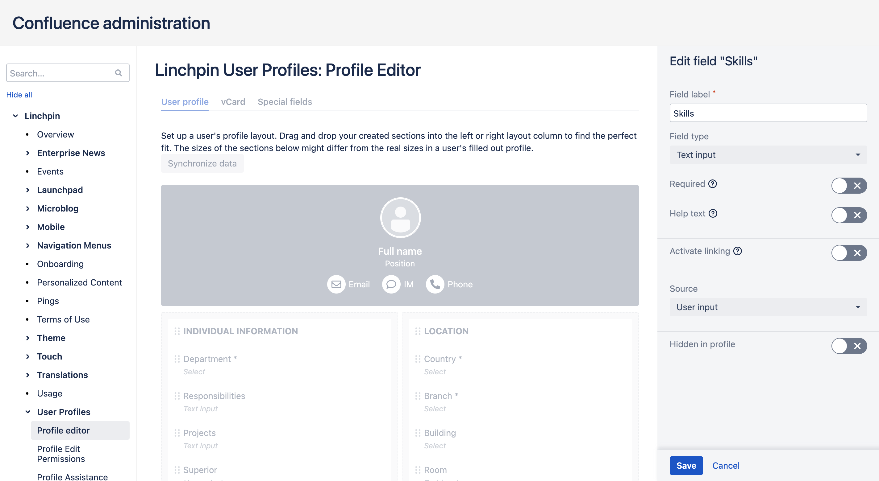 Linchpin Intranet Suite 4 - Profileditor
