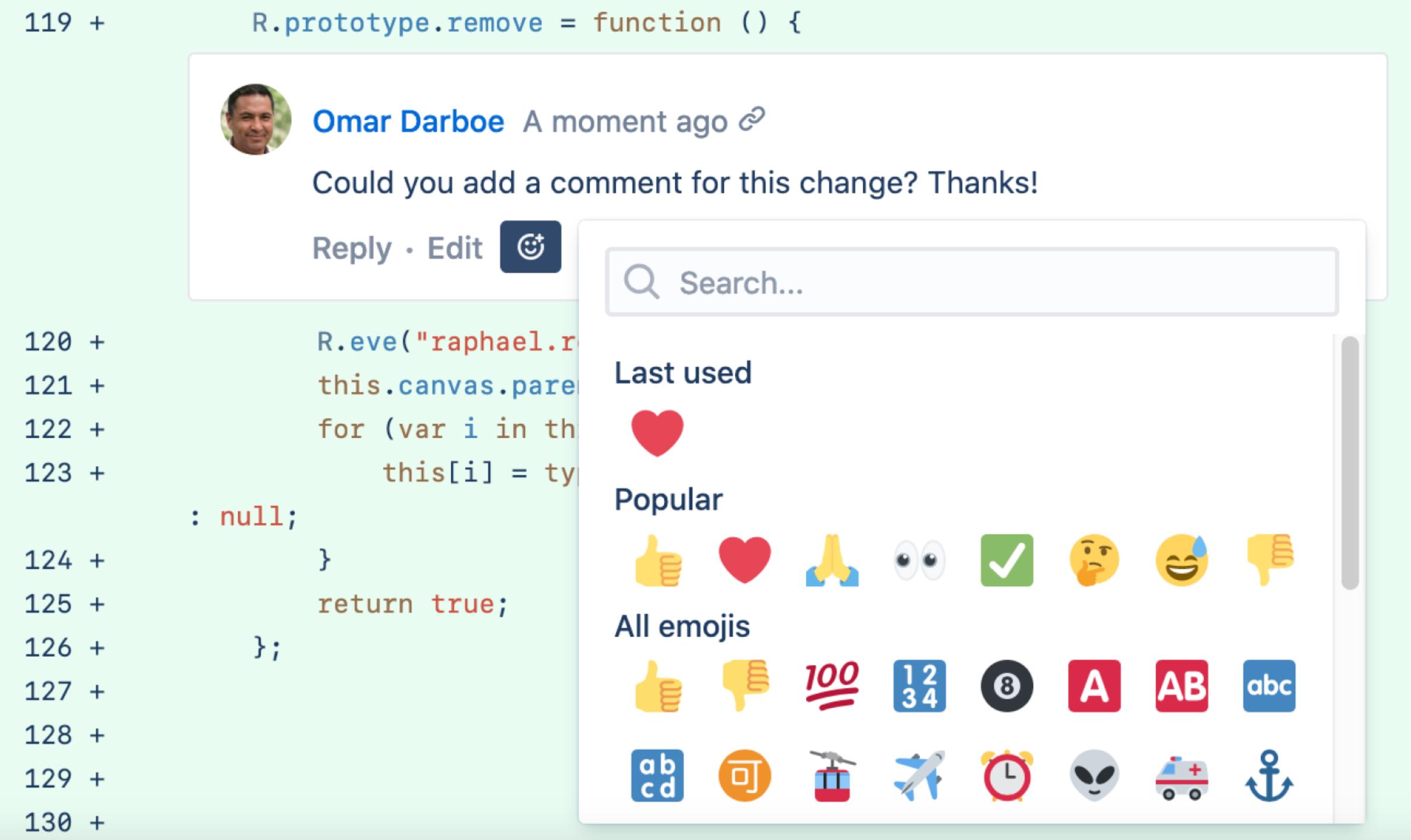Bitbucket Kommentarreaktionen