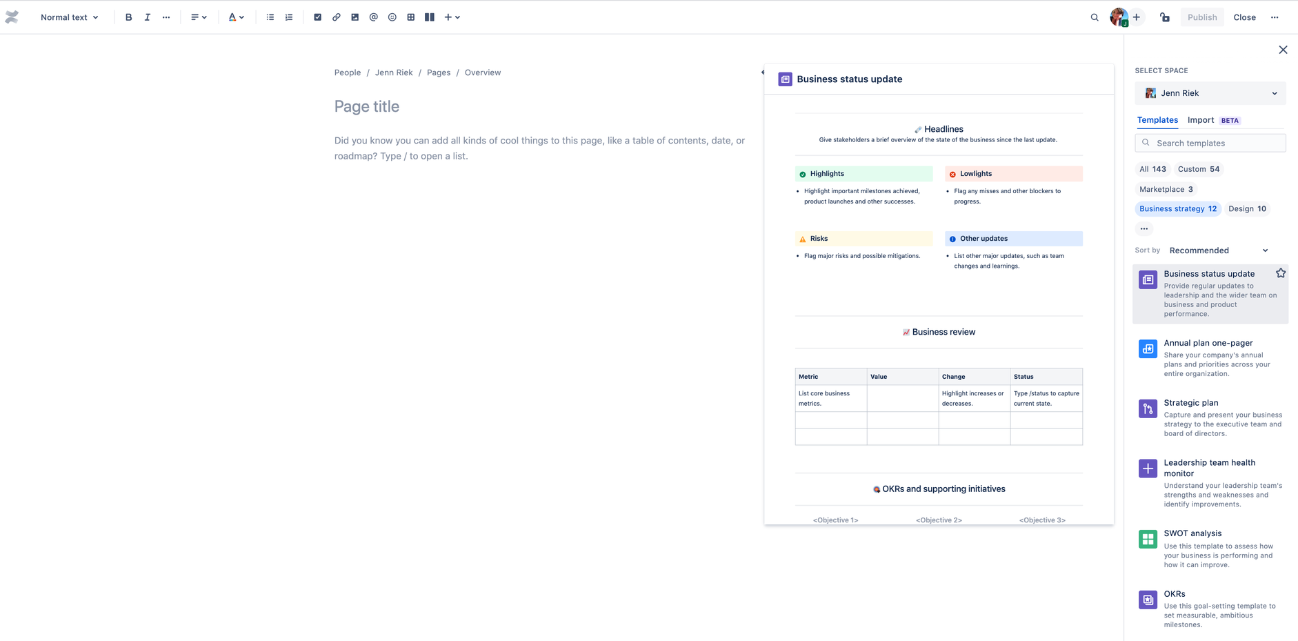 Confluence Cloud Templates