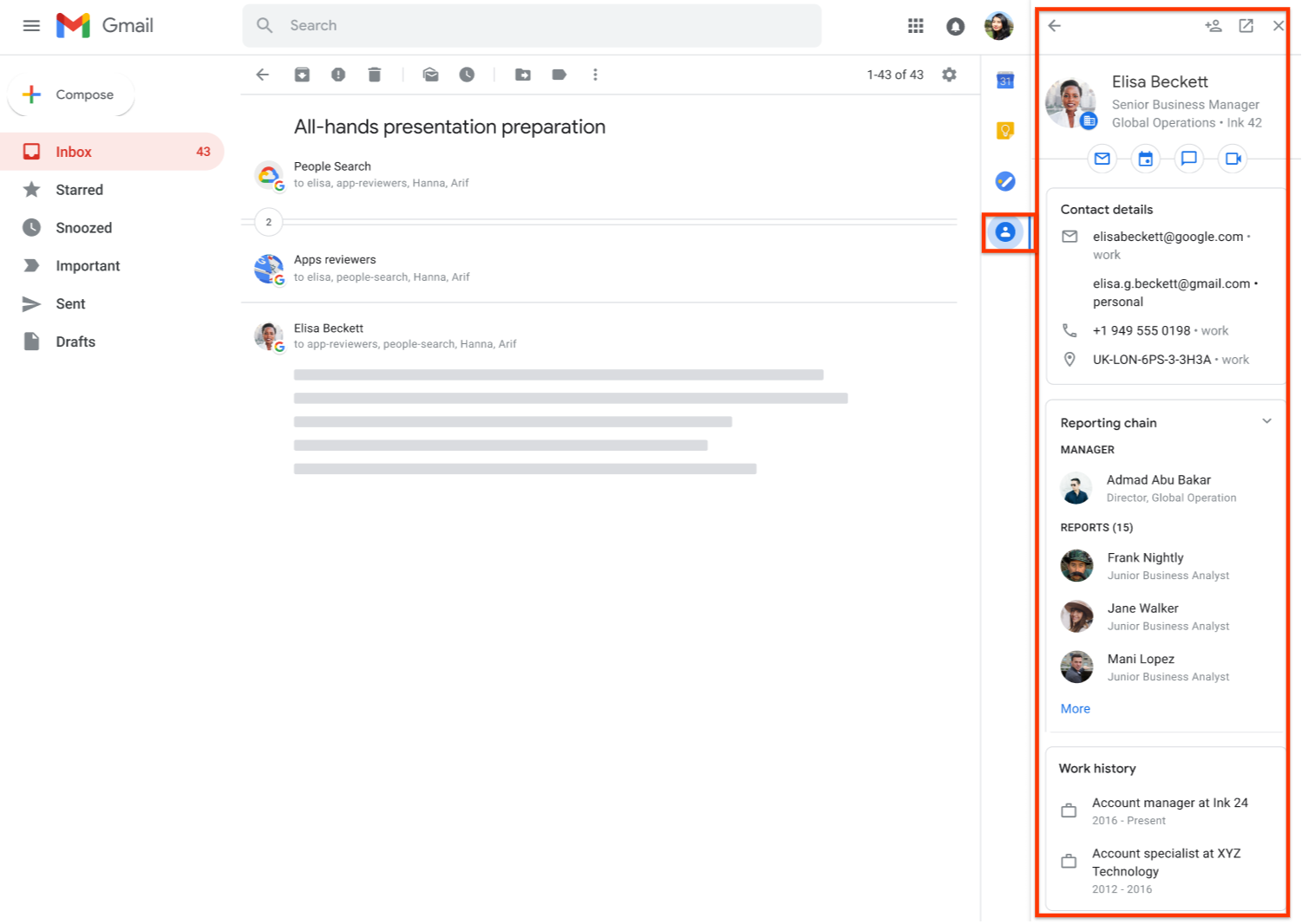 Kontaktinformationen in Gmail abrufen