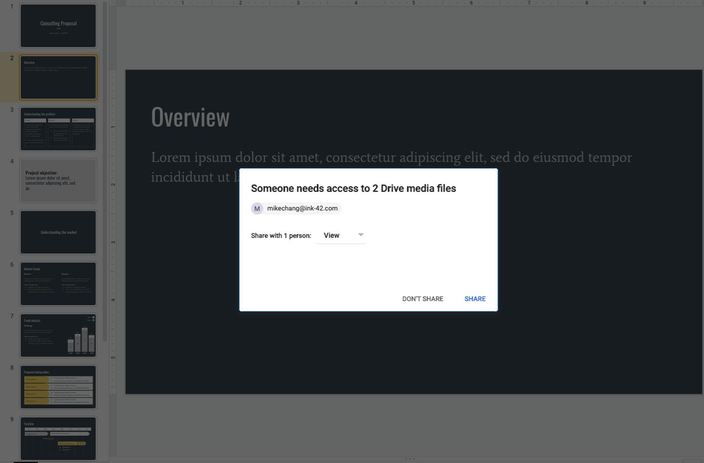 Zugriff auf Mediendateien geben in Google Slides