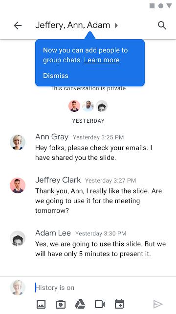 Neue Personen zu Gruppenkonversationen hinzufügen in Google Chat