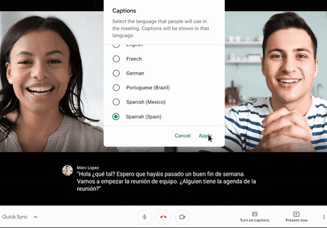 Untertitel in mehreren Sprachen in Google Meet