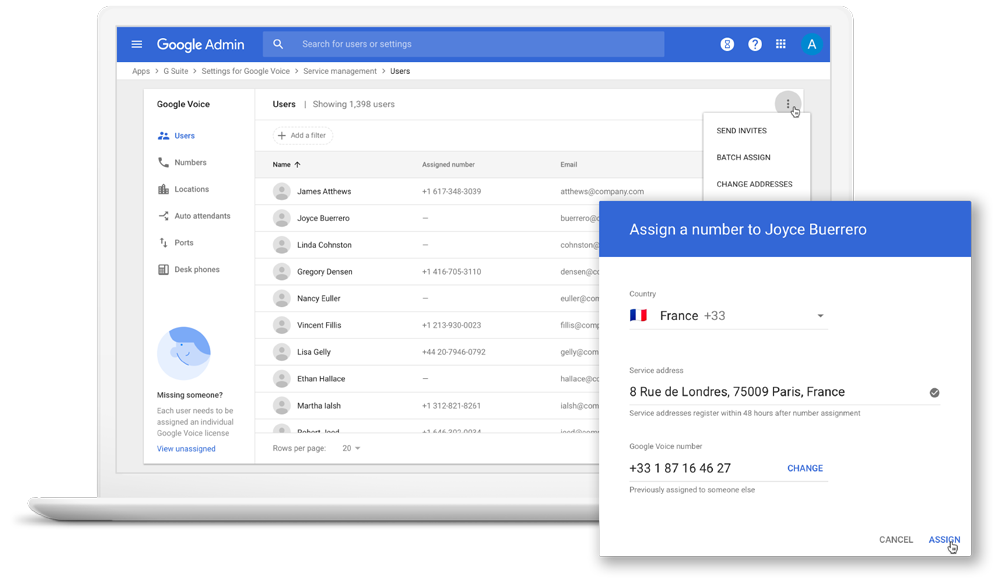 Google Voice Adminkonsole