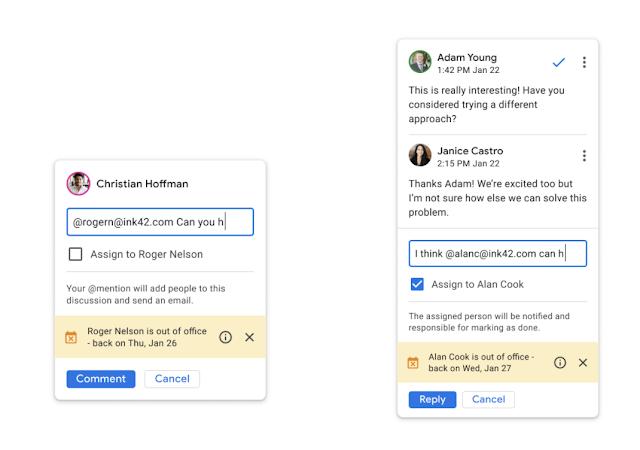 Google zeigt eine Abwesenheitsnotiz in den Kommentaren