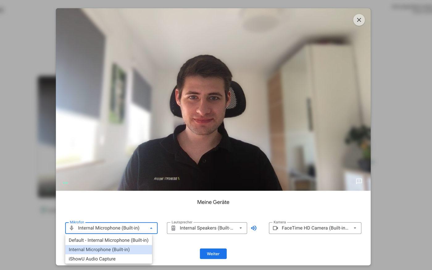 Google Meet Testroom Screenshot