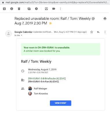 Google Kalender schlägt einen anderen Raum vor