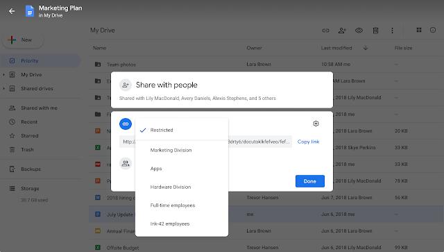 Auswählen von Google Workspace Gruppen zum Teilen in Google Drive