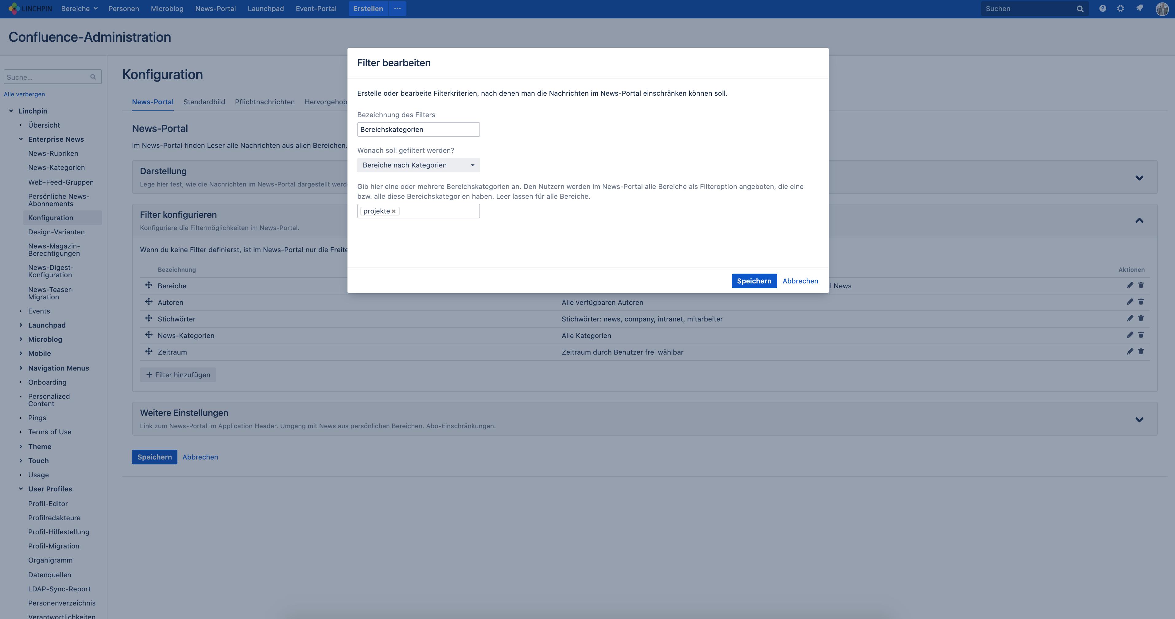 Neue Filter für das News-Portal der Linchpin Intranet Suite