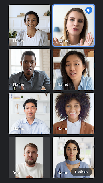 Kachelansicht in der Google Meet Smartphone App