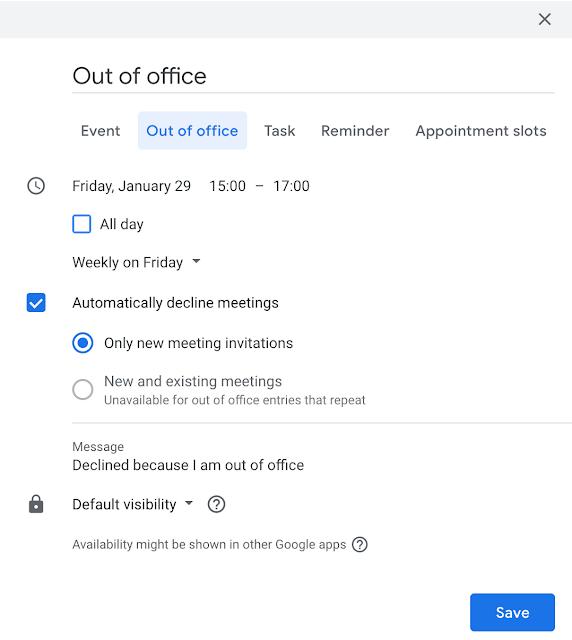 Abwesenheitszeiten in Google Kalender eintragen